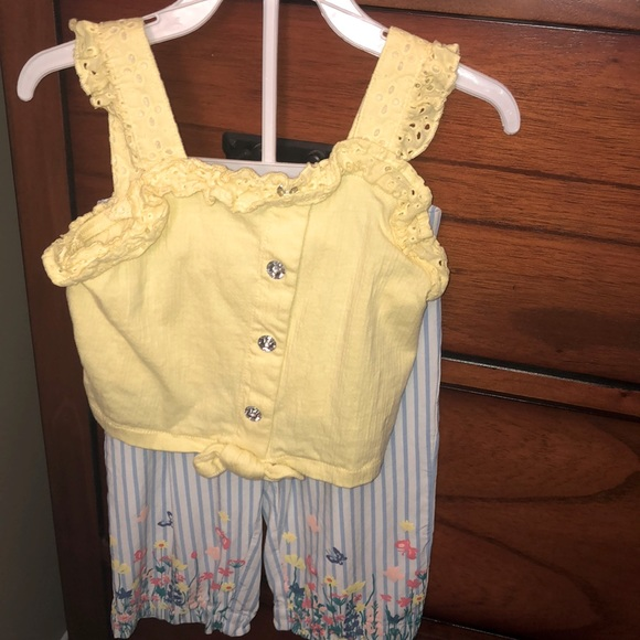yellow top & blue striped garden palazzo pants